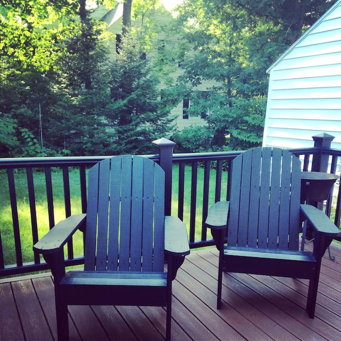 Handmade Adirondack chairs to enjoy on the spacious back deck!