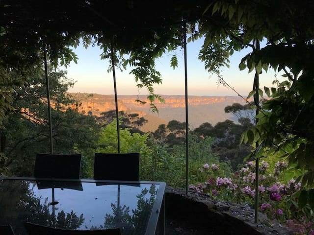 Breathtaking view from the Aries section in the Richard Sterling Astrological signposted Gardens. Alfresco dining at its finest with the best view in Katoomba.