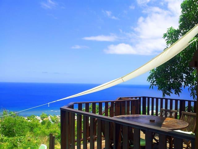 ile la reunion maison + terrasse piscine vue mer - saint leu - Casa