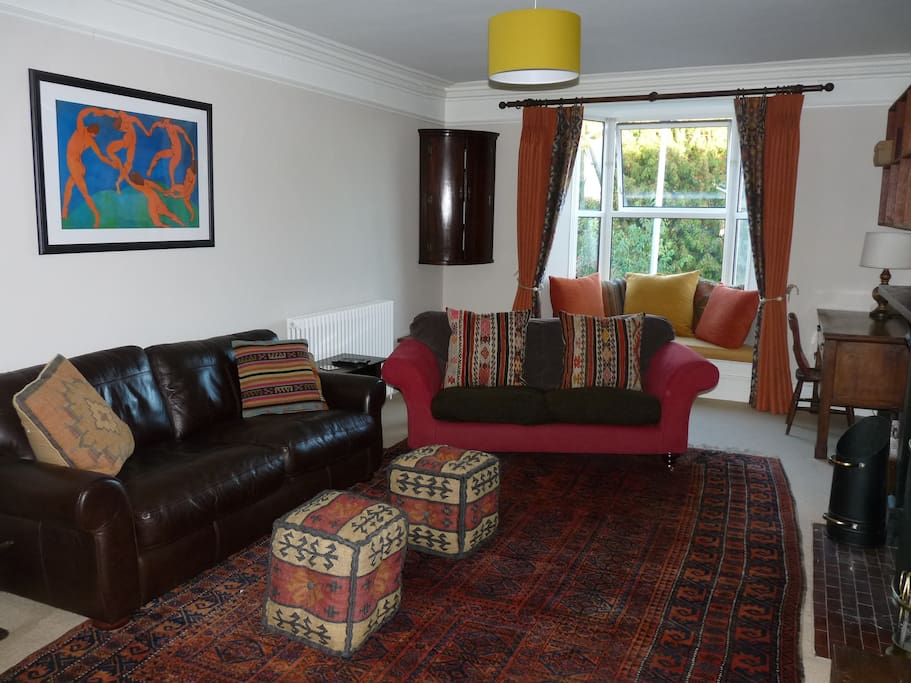 Sitting room on the first floor.  The window seat is great for reading or enjoying the view across the Nadder valley.