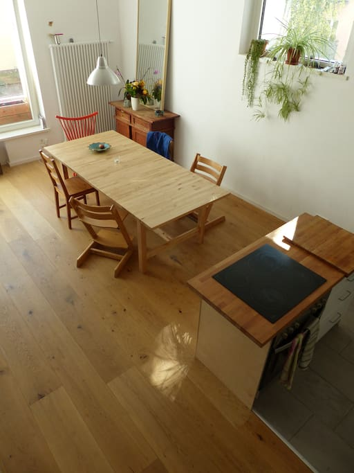Natural wood kitchen dining area