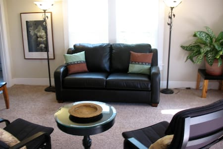 We offer Two Private downtown Apartments. Each Unit is a furnished  in the heart of downtown Olympia  & has 1100 sq ft. w/ Two Bedrooms , Full Kitchen, Full bath, HBO/WIFI/. Walk to all cafes/shops amenities. On Busline  Rent by Day, Week, or Month.