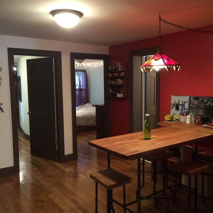 Fully equipped eat-in kitchen, leading to 2 BR/BA