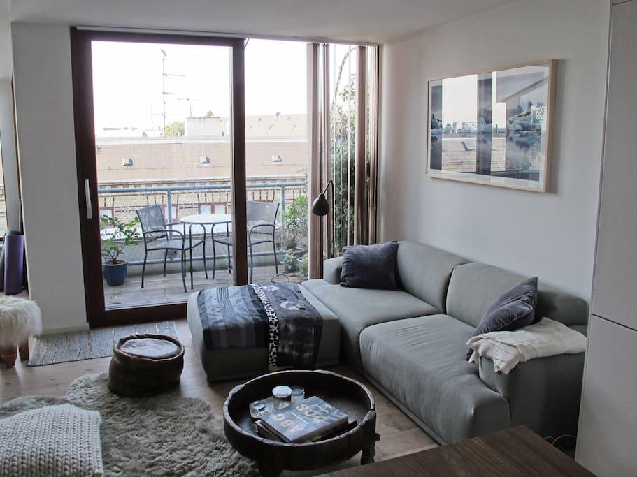 Living room area and balcony.