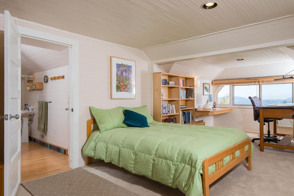 This is the private second story suite. There are expansive views of the Cascade Range, the Willamette River and the forested hillside from the windows.
