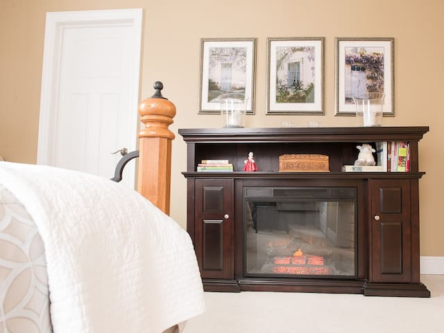 Enjoy Your Bedroom Fireplace at Piper's Getaway