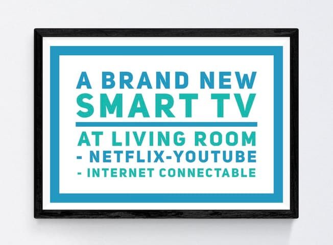 A brand new Samsung Smart TV for your entertainment in the living room :  - NetFlix - YouTube  - Internet Browsing  - and many more ...
