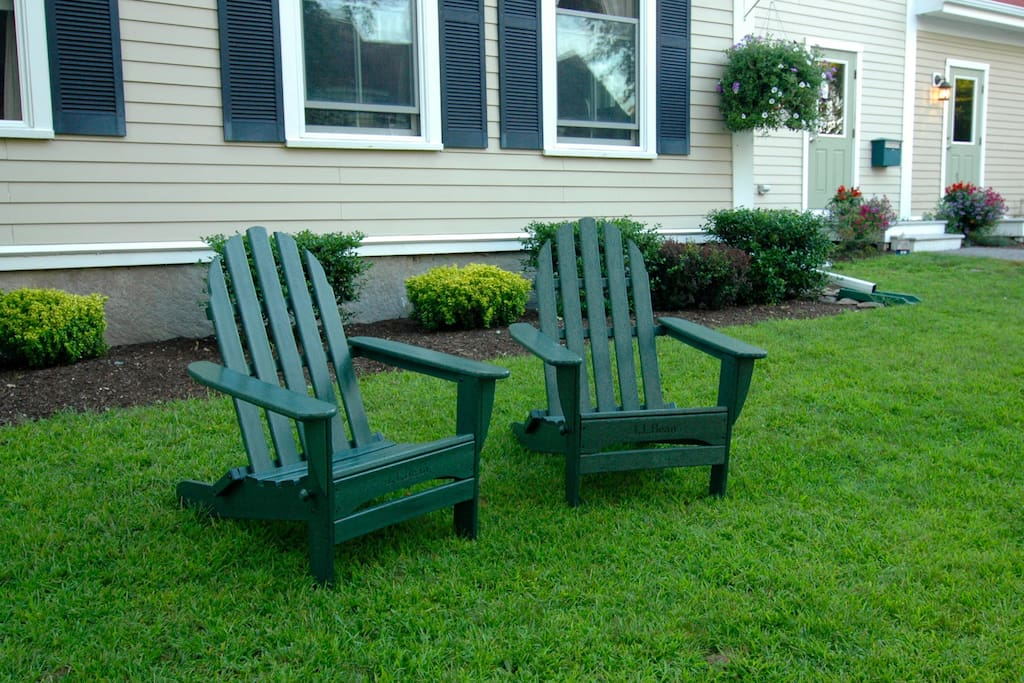 Relax in the LL Bean adirondack chairs.