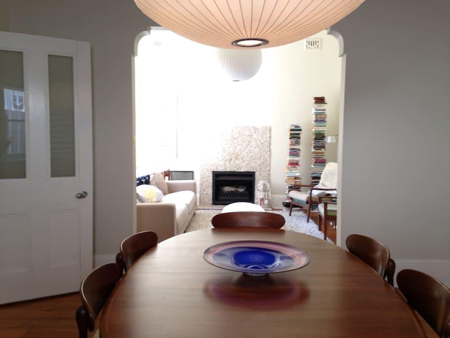 Formal lounge & dining room. Extra large comfy sofa, Danish retro furniture.