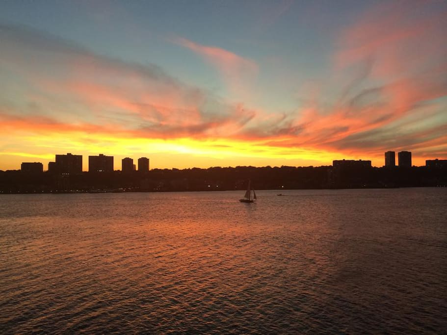 Sunset from Riverbank park (half a block from our apartment).