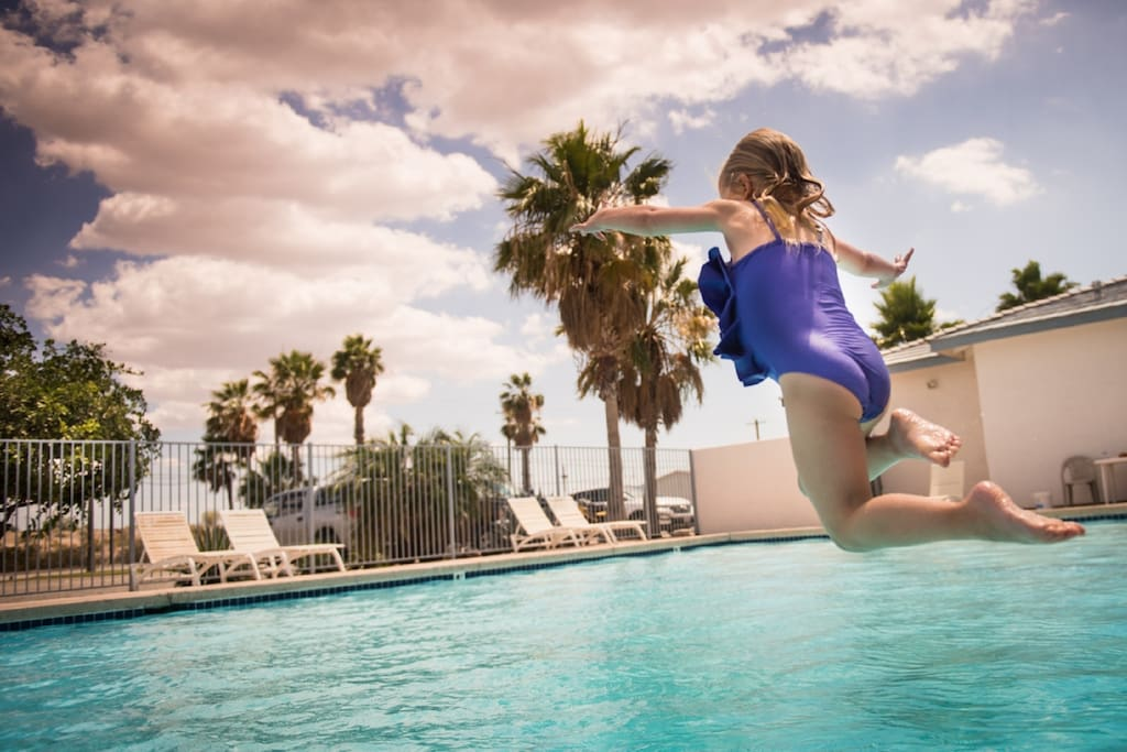 Heated pool, kiddie pool, and hot tub open year round