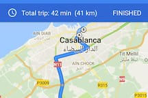 From Casablanca  Airport to the apartment via Casa Voyageur (train  station)