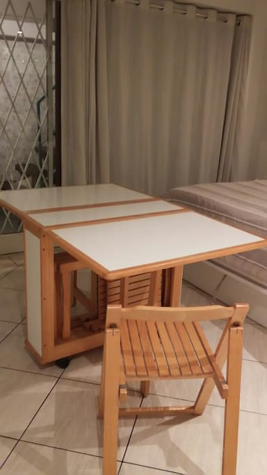 Foldout dining table & 4  b.i. chairs