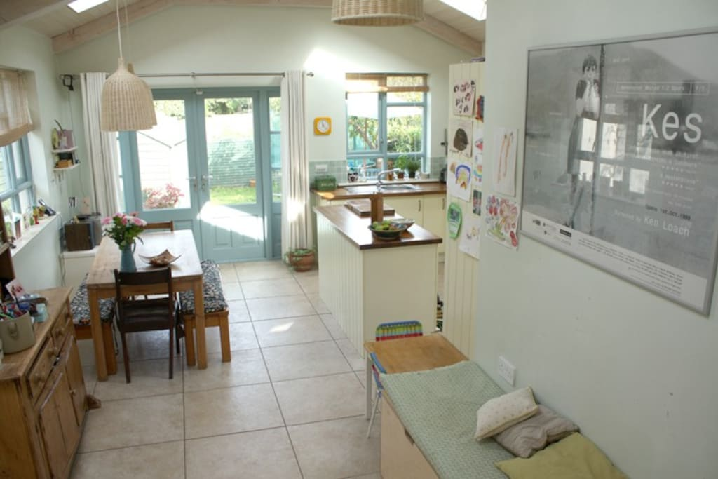 The heart of our home, a bright open plan kitchen.