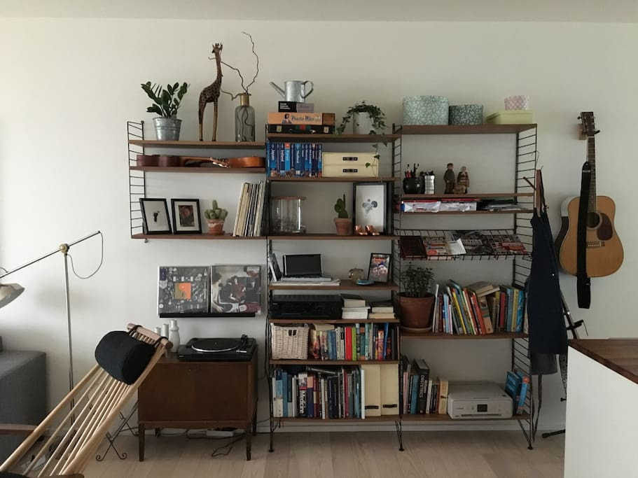 Bookshelves and record player