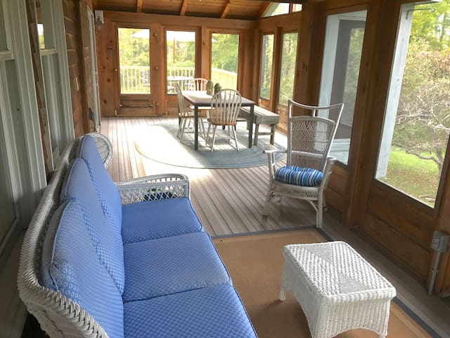 Lounge on the screened-in porch