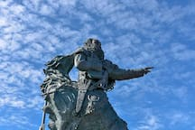 Statue of St Brendan the Navigator at Fenit Harbour