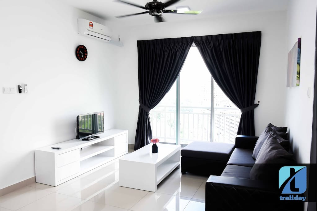 Watching television or urban view at the balcony with your family ! Air conditioning is also available in living rooms.