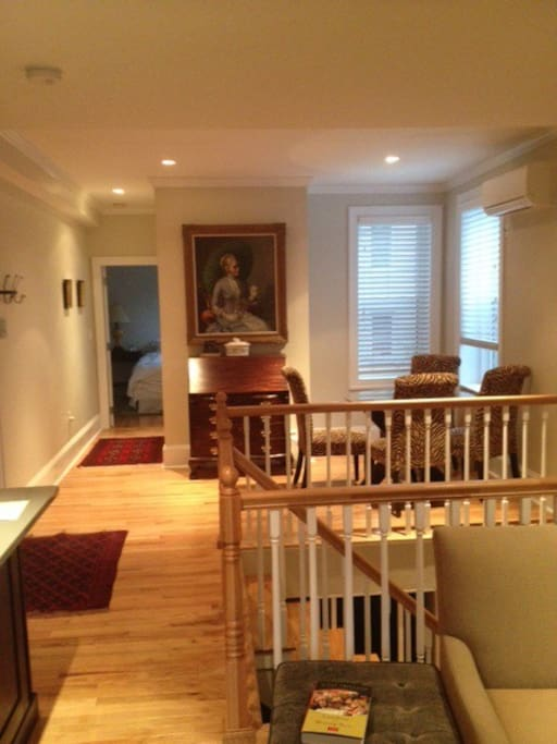 Stairwell to next level offering second bath, study, laundry, second bedroom