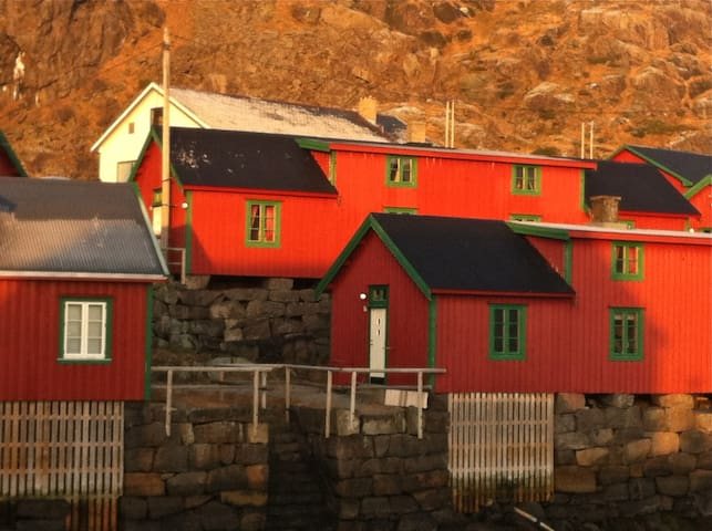"""Our new rorbu is situated in the upper row. Check out """"Cozy fishermans lodge"""" on Airbnb."""