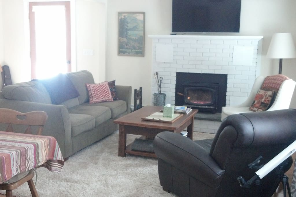 Living room with wood stove, dining table and TV/DVD
