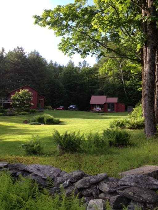 View from the lower field, the Cabin is the building on the right