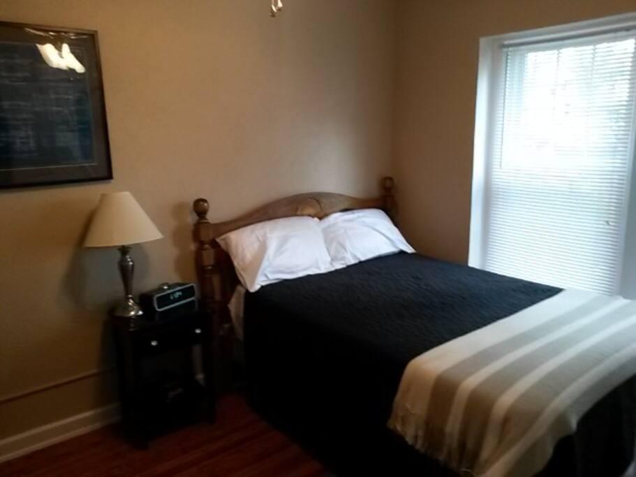 Quiet bedroom with North-facing windows.