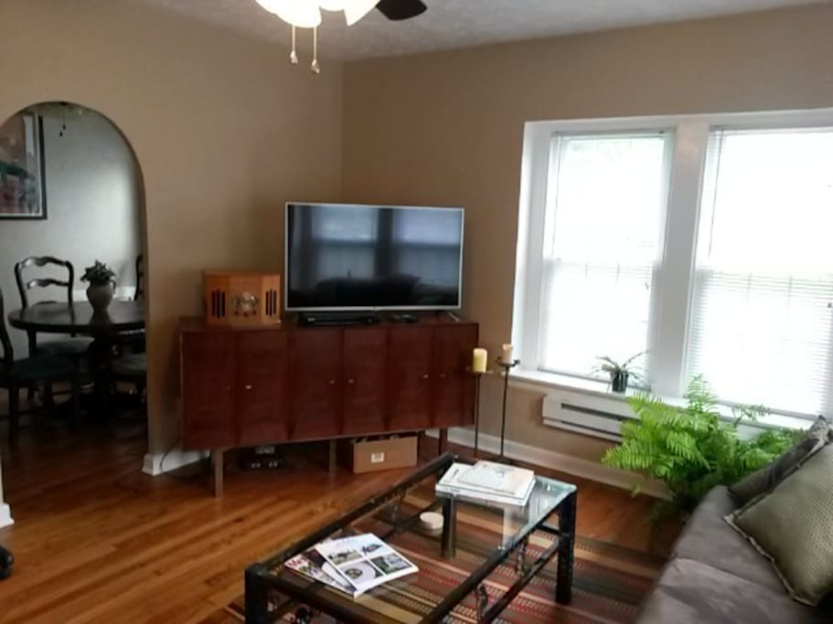Large living room with tons of daylight. Couch can sleep one or air mattress(es) can be placed on the floor.
