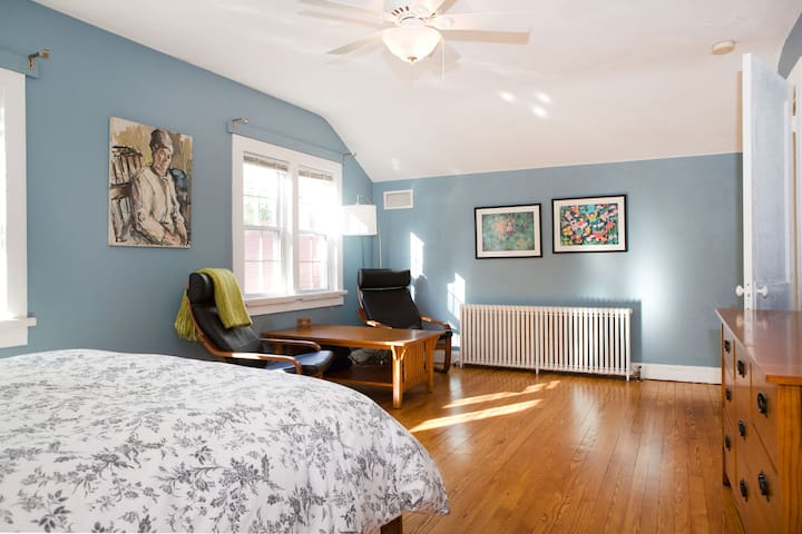 The guest room is quite spacious, and has a sitting area, pictured here.