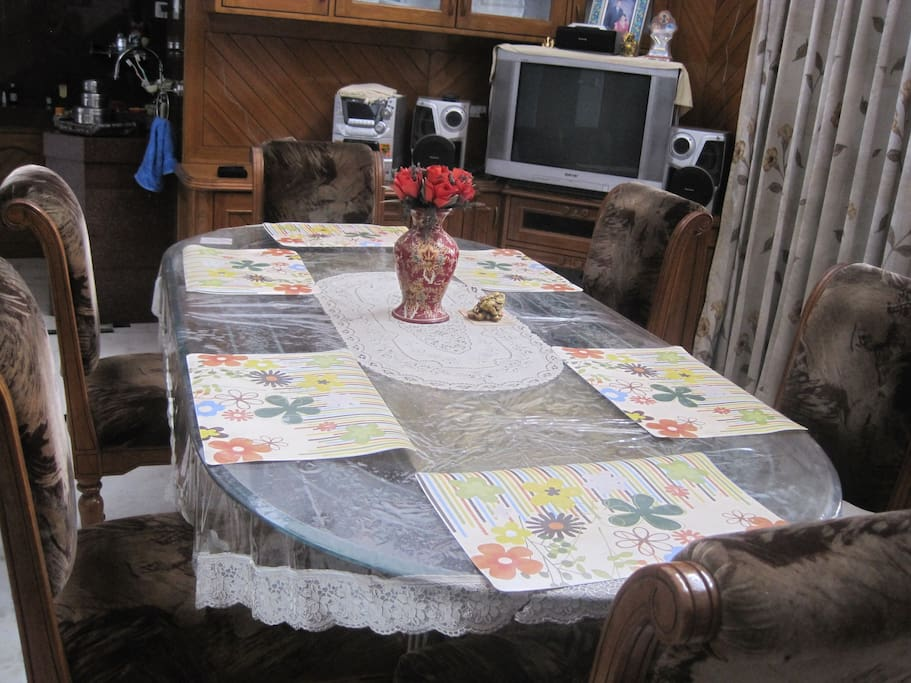 Dining table with the television