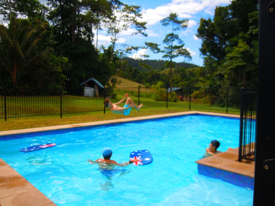 Huge in-ground saltwater pool to cool off after a busy day sightseeing.