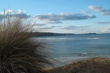 The beach, less than a mile away