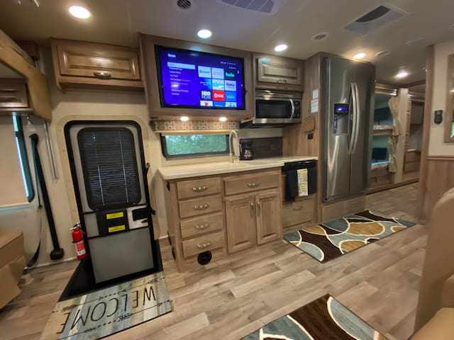 Luxury Parked Class A RV