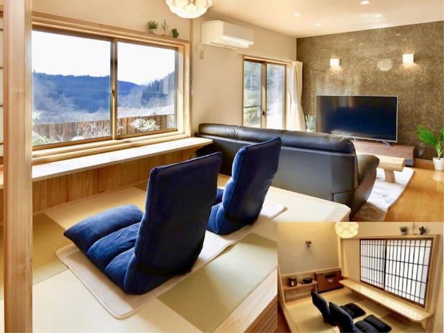 【★新館】露天檜風呂付和洋室+和寝室+マッサージチェアルーム