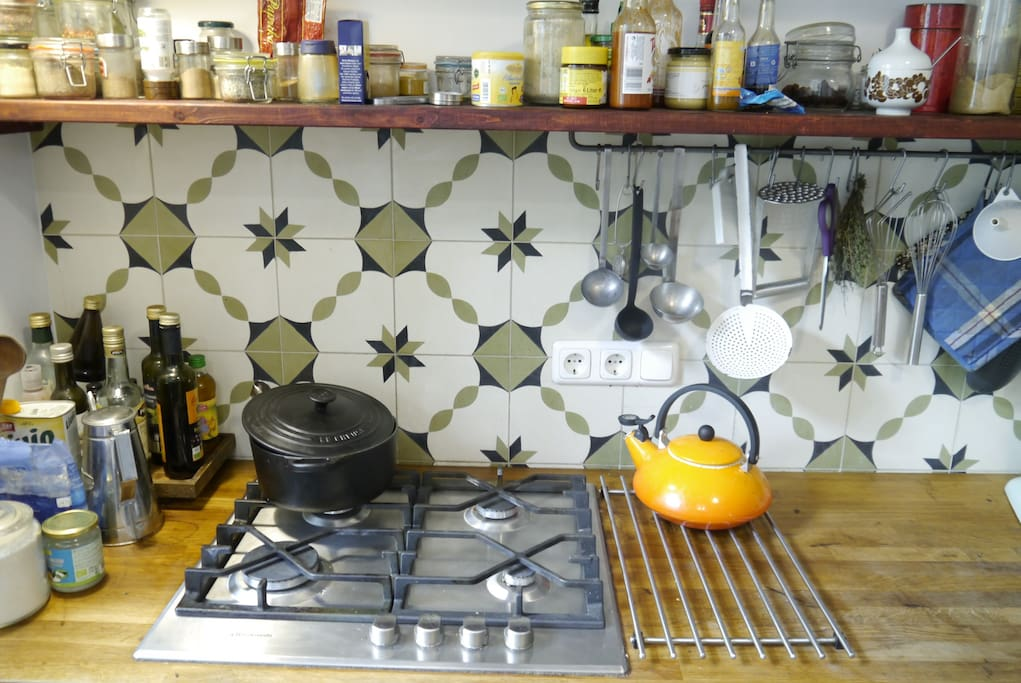 Our kitchen comes fully fledged  with anything you'll need, french iron pots, knives handcrafted by my brother (you can order one if you like), loads of spices and stuff you'll need to get a great meal on the table.