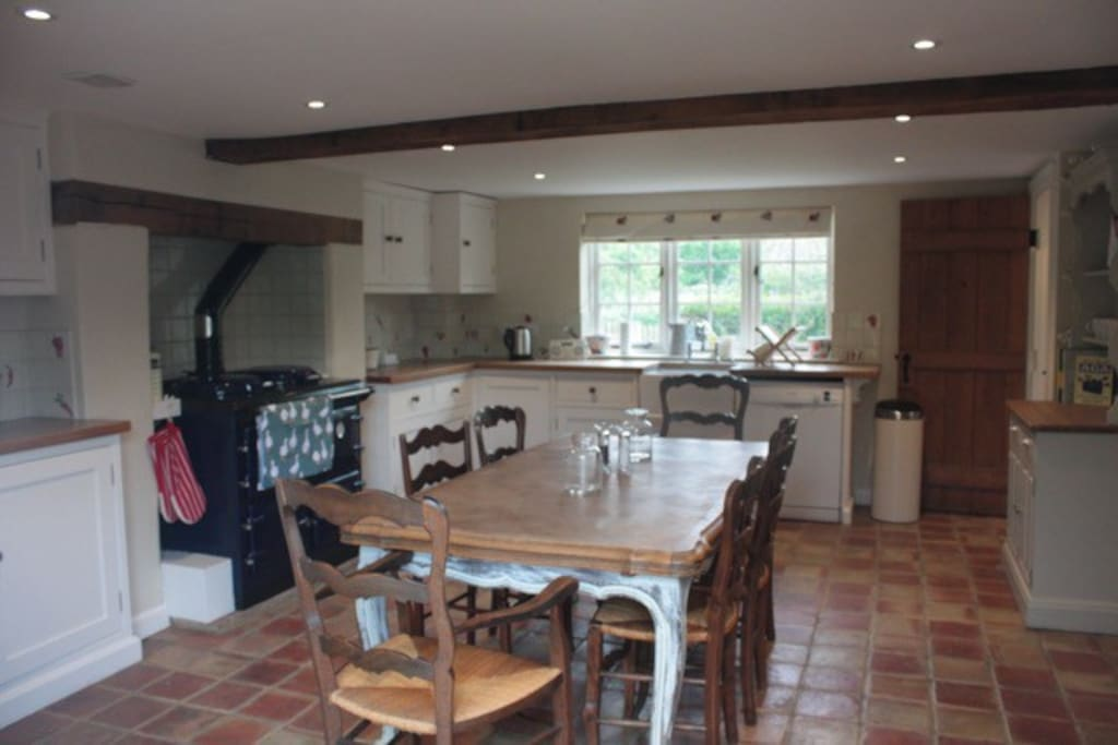 Country-style kitchen with range cooker
