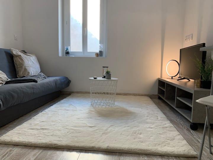 Studio chaleureux et moderne