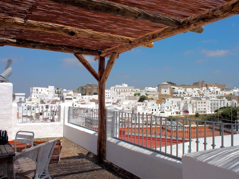 Beautiful views across Vejer form the roof terrace.