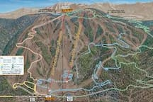 Snow Summit Ski Resort mountain bike trail map. Located 2.3 miles from the cabin.