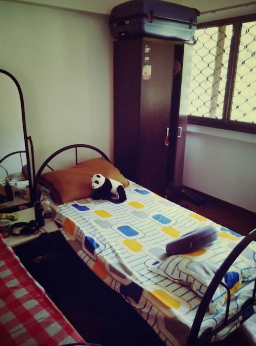 Your bed, it's aircon, with a nice view of the green outside