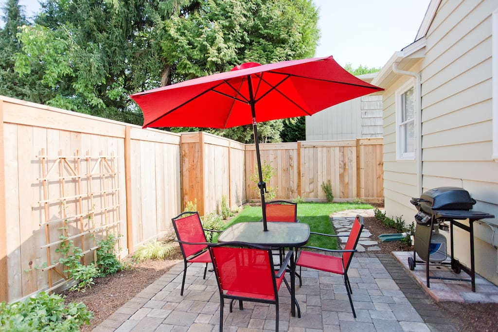 Private patio and yard with BBQ