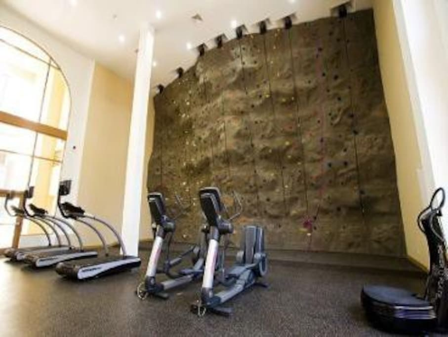 Gym cardio center with treadmills, recumbent bikes and Spin bikes.  Complimentary climbing classes Tuesday and Thursday nights.
