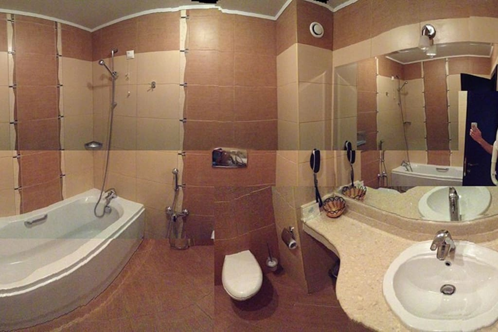 Bathroom and shower with mineral water.