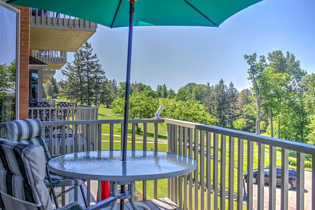 Dine al fresco or just enjoy the splendid lake views from this private deck.