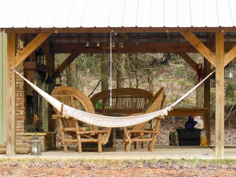 Without having to leave the property wander down to the creekside pavilion in the meadow. While the creek gurgles by enjoy a good book, listen to the rain on the tin roof, take a nap in the hammock, or build a fire in the stack stone fireplace.