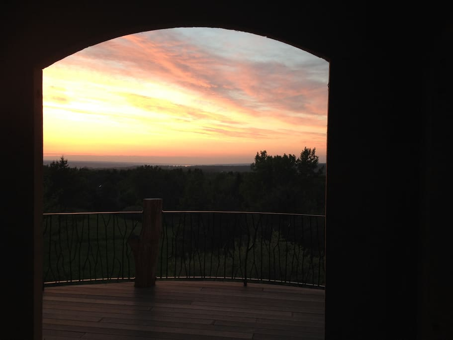 Sunset Viewed Through The North Windows Hilltop House Main Cottage