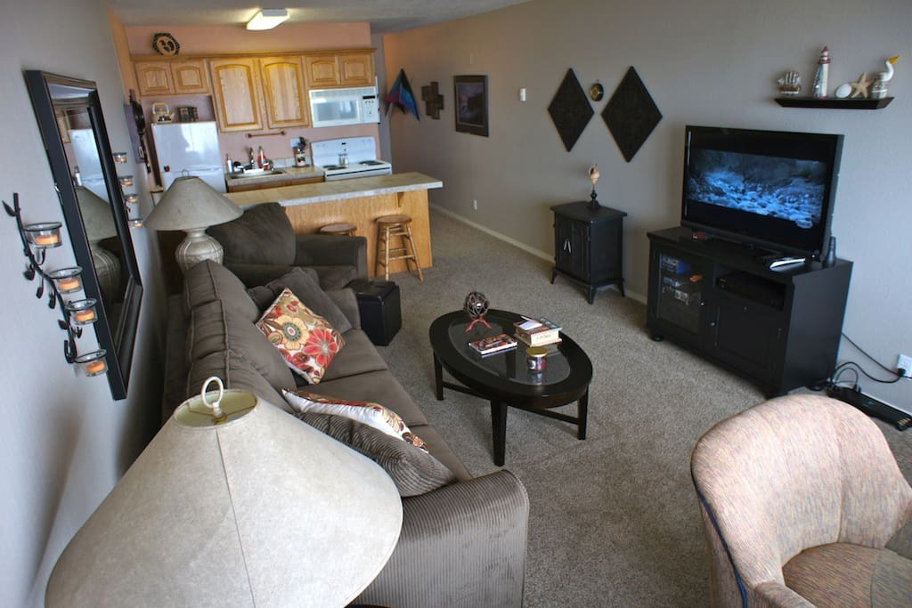 The oceanside suite features a flat screen TV and DVD player.