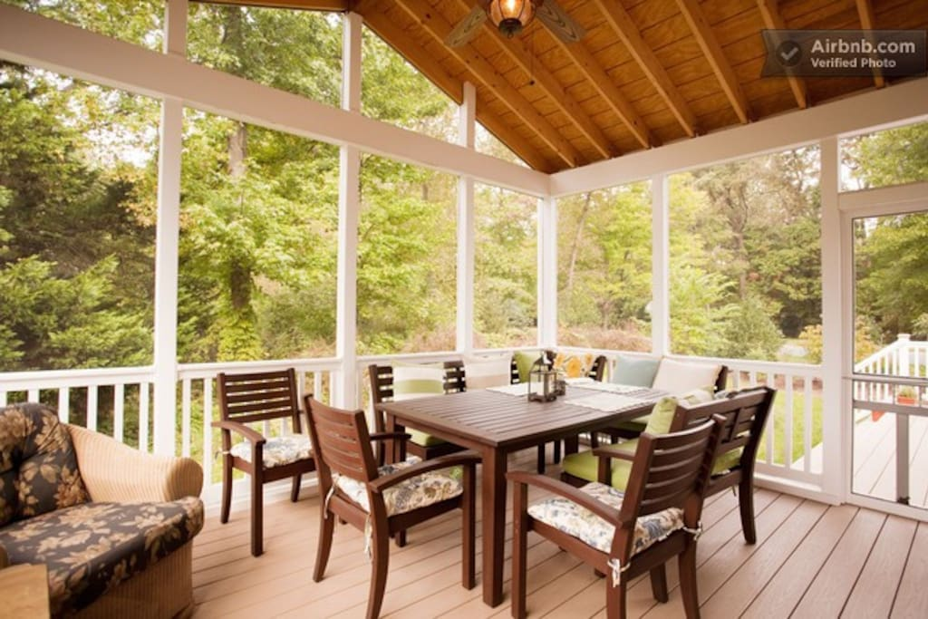 Screened Porch, there is an adjacent deck