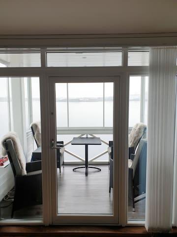 Glass balcony with ocean wiew