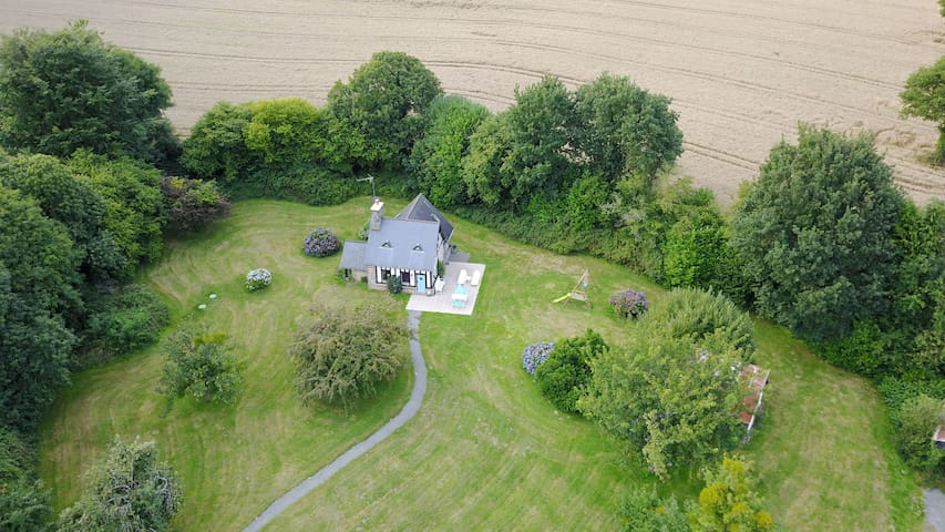 Aerial view of La Petite Maison May and gardens